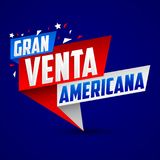 Le venta de mamie americana, grand Espagnol américain de vente textotent illustration de vecteur