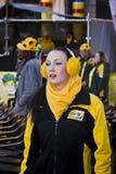 Le ventilateur de football de SA brave le froid Image libre de droits