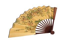 le ventilateur en bambou a isolé Photos stock