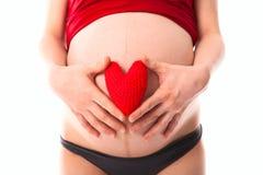 Le ventre de femme enceinte avec le rouge a tricoté le coeur, concept de l'amour, Photo stock