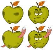Le ver heureux d'une série verte putréfiée grincheuse de caractères de mascotte de bande dessinée de fruit d'Apple a placé 2 rama illustration de vecteur
