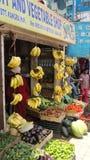 Le verdure del mercato di frutti della banana comperano festa di manali di viaggio fotografia stock