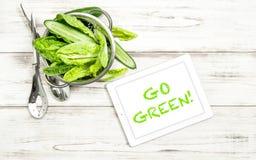 Le verdure di insalata verde puliscono il cibo del concetto Fotografia Stock Libera da Diritti