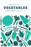 Le verdure disegnate a mano di divertimento progettano il modello Priorità bassa dell'alimento Stile di Linocut Alimento sano Ill immagine stock