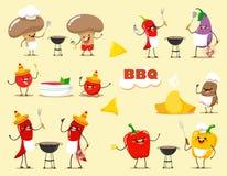 Le verdure divertenti del fumetto di kawaii cucinano il barbecue Illustrazione di vettore di uno stile piano illustrazione vettoriale