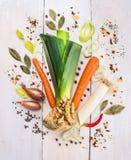 le verdure hanno messo delle erbe e spezie, ingrediente per brodo o minestra Immagini Stock Libere da Diritti