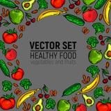 Le verdure incorniciano l'alimento sano isolato Fotografie Stock Libere da Diritti