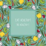 Le verdure sane dell'alimento biologico soppressione lo spazio del testo - aletta di filatoio dell'illustrazione Fotografia Stock