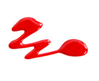 Le vernis à ongles rouge (émail) relâche l'échantillon, d'isolement sur le blanc Photographie stock libre de droits
