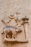 Le verrat en tant que quatrièmement avatar de Vishnu au temple de Kallalagar Image libre de droits