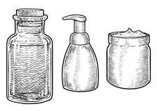 Le verre de cosmétiques, peut illustration, dessin, gravure, encre, schéma, vecteur illustration stock