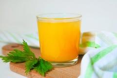 Le verre de jus d'orange sur la table blanche, sur le bois plante le fond, la boisson fraîche photographie stock