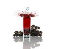Le verre de jus de raisins rouge avec le fruit d'isolement sur le blanc, 3d rendent Images libres de droits