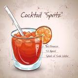 Le verre de spritz le cocktail d'aperol d'apéritif illustration de vecteur