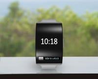 Le verre noir ultra-mince a plié le smartwatch d'interface avec le watc en métal Photographie stock libre de droits