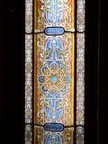Le verre souillé a décoré la porte Photographie stock libre de droits
