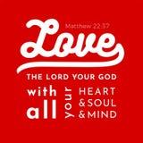 Le vers biblique de scripture de l'évangile de Matthew, aiment le seigneur votre illustration stock
