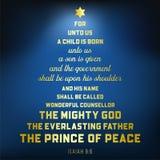 Le vers de bible du 9:6 d'Isaïe au sujet du Jésus-Christ, un enfant est né illustration libre de droits