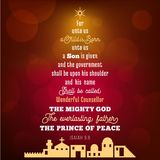 Le vers de bible du 9:6 d'Isaïe au sujet du Jésus-Christ, un enfant est né illustration de vecteur