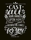 Le vers de bible a fait marquer avec des lettres à la main la fonte toute votre inquiétude sur lui, parce qu'il s'occupe de vous illustration stock