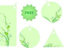 le vert étiquette le remous réglé par lames Photos libres de droits