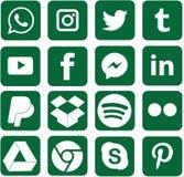 Le vert a coloré les icônes sociales de médias pour Noël illustration de vecteur