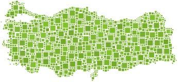 Le vert a couvert de tuiles la carte de la Turquie Images stock
