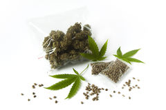 Le vert cru de graine de sac de dose de médecine de marijunana de cannabis part images stock