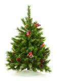 Le vert a décoré l'arbre de Noël sur le fond blanc Images stock