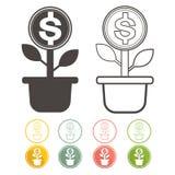 Le vert d'arbre d'argent de Dolar avec des icônes a placé la devise de vecteur Image stock