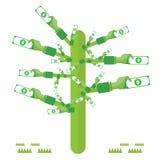 le vert d'arbre de main d'argent avec des icônes a placé la devise de vecteur Photographie stock libre de droits