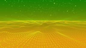 Le vert jaune abstrait pointille l'espace polygonal de trois dimensions de forme de vague banque de vidéos