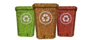 Le vert jaune rouge réutilisent la poubelle de la texture en bois de liège sur l'isolat Images stock