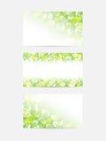 Le vert laisse des cartes de voeux Photos libres de droits