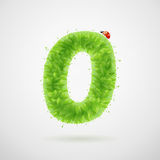 Le vert laisse l'alphabet avec la coccinelle Été d'écologie Numéro 0 Photo libre de droits