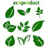 Le vert laisse la collection Ensemble de vecteur d'icône de feuilles d'isolement sur le fond blanc Diverses formes des feuilles v Images libres de droits