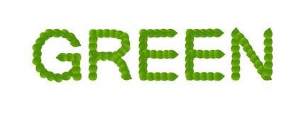 Le vert laisse le concept de mot Photo stock
