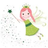Le vert mignon de conte de fées tient le premier rôle briller Photo stock