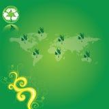 Le vert réutilisent la carte du monde Photographie stock libre de droits