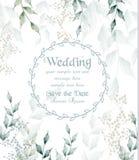 Le vert rond d'aquarelle de cadre de carte de mariage laisse le vecteur illustration libre de droits