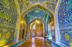 Le vestibule de Sheikh Lotfollah Mosque, Isphahan, Iran photographie stock libre de droits
