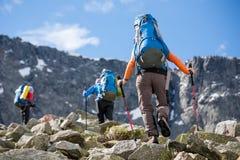 Le viandanti stanno scalando il pendio roccioso della montagna in montagne di Altai, Fotografia Stock Libera da Diritti