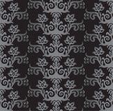 Le victorian sans couture d'argent et de charbon de bois dénomment le papier peint floral Photo libre de droits