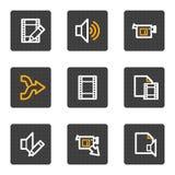 Le vidéo sonore éditent des graphismes de Web, série de boutons de gris Photos libres de droits