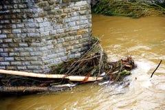 Le Vidourle inondé après forte pluie Photographie stock