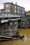Le Vidourle inondé après forte pluie image libre de droits