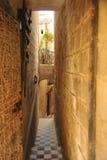 Le vie strette di Vittoriosa, Malta Fotografia Stock
