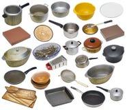 Le vieil ensemble sale utilisé rural d'équipement de cuisine images libres de droits