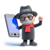 le vieil homme 3d a un smartphone Photos stock