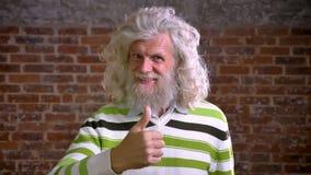 Le vieil homme moderne peu commun souriant avec la grande barbe blanche se tient gaiement dans le studio de brique, vue moderne banque de vidéos